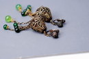 Victorian   Brass  & Green Glass Filigree Long Dangle  Chatelaine Earrings