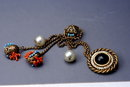 Rare ADELE SIMPSON Chatelaine Swag Pin Duet Brass/Coral/Pearl