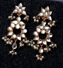 Mirrored Glass Cabochon  & Pearl Chandelier Clip On Earrings