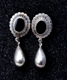 Sterling Silver Onyx Concho Drop Earrings