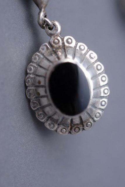 Sterling Silver Onyx Concho Drop Earrings