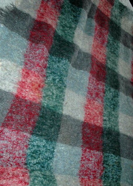 100% Mohair Hudson Bay  Company of  Scotland  Stadium Blanket, Lap Throw, Vintage Plaid