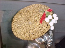 Straw Hat White Cherries Beret Beanie Tam John Andrew of San Francisco