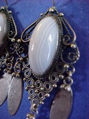 Pearly Blue Lace Agate  Cabochon & Sliver