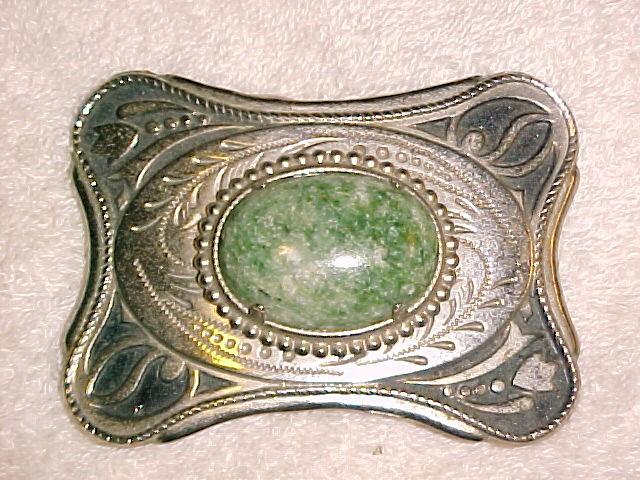 Silver Belt Buckle Green Speckled Agate Western
