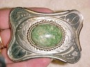 Silver Belt Buckle Green Speckled Agate Western