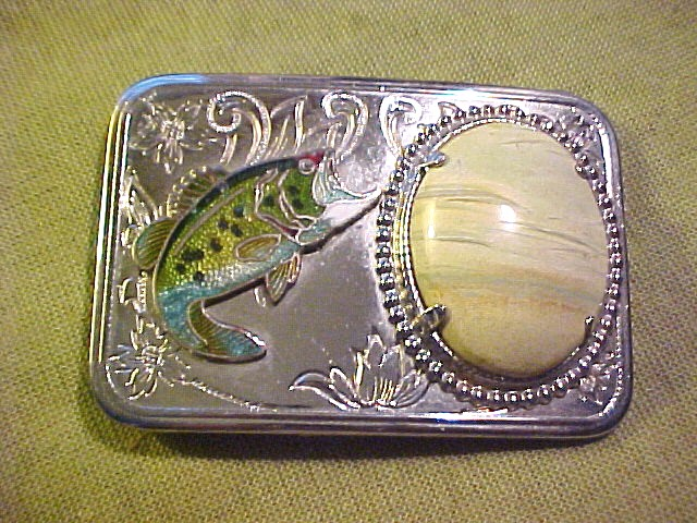 Fish Belt Buckle  Enamel Large Mouth Bass