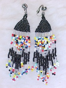 Native Amercian Beaded Tassle Earrings Old Hippie Look