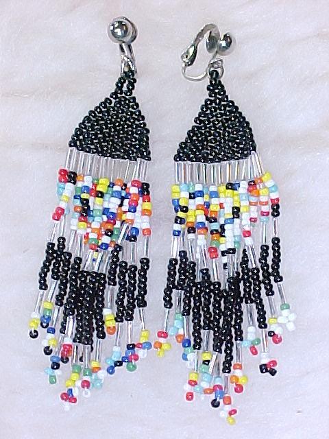 Native Amercian Beaded Tassle Earrings Old Hippie Look