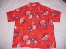Tropical Seashell Shirt by Pilgrim of California made for Sears & Roebuck Nice Red,White, Black & Brown Seashell Print size XL 17-17 1/2