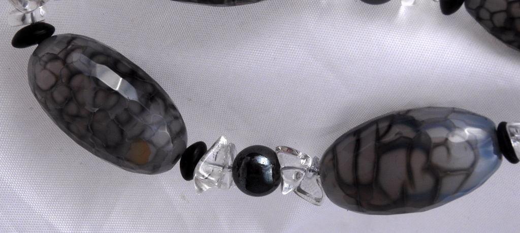 Chunky Agate  & Quartz Bracelet, Handcrafted Original Design