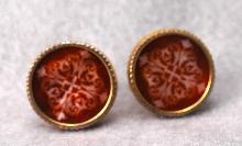 FINE CUFF LINKS WITH RED IRIDESCENT ENAMELING WITH MOORISH DESIGN