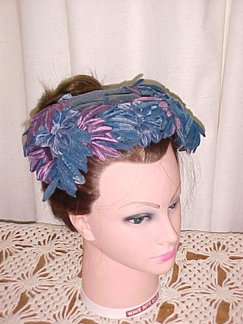 Velvet Flower & Feather Half Hat *PRICE REDUCTION!*