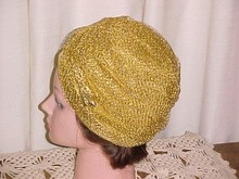 Gold Metallic Turban Style Hat Dana Original *PRICE REDUCTION!*