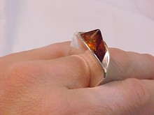 Amber Pyramid & Sterling  Ultra Modernist Ring