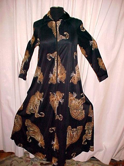 Large Leopards on Black Print Vintage Dress
