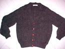 Charcoal Irish Fisherman's Cardigan Sweater Handknit