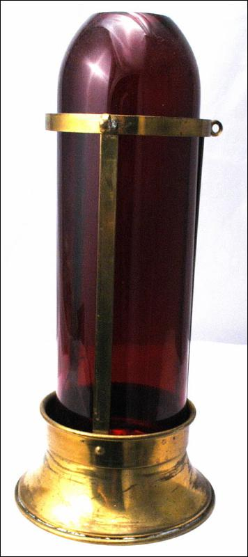 Brass with Red Glass Chimney Hanging Candle Lantern  Light
