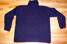 Navy Blue Turtleneck Irish Fisherman's Sweater Med Made in Ireland for LL Bean