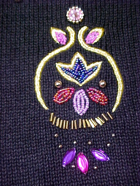 Not so Ugly Christmas Sweater Victoria Jones Beaded Ornamental Sweater sz M  Not so Ugly Christmas Sweater