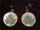 Scrimshaw Earrings  Alaskan State Flower Forget-me-not on Antler Native Amercian Artist Signed D. Sims