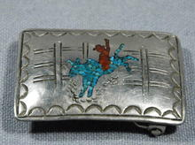 Navajo Silver  Belt Buckle Mosaic Rodeo Bull & Rider