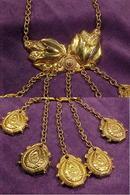 Art Nouveau  Brass Chatelaine Necklace