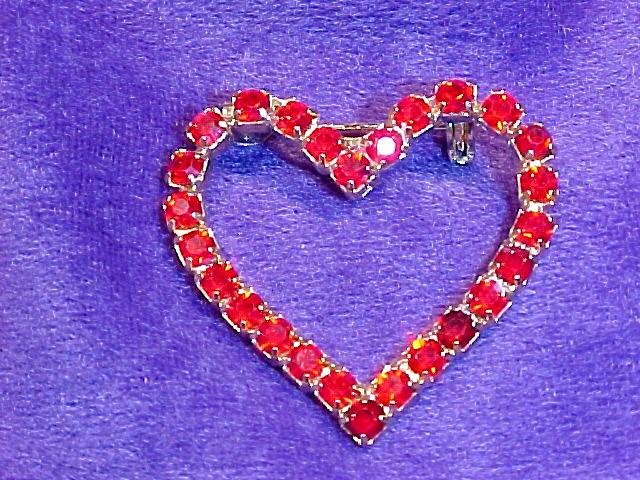 Ruby Red Rhinestone Valentine Heart Pin
