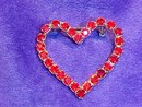 Ruby Red Rhinestone Valentine Heart Pin