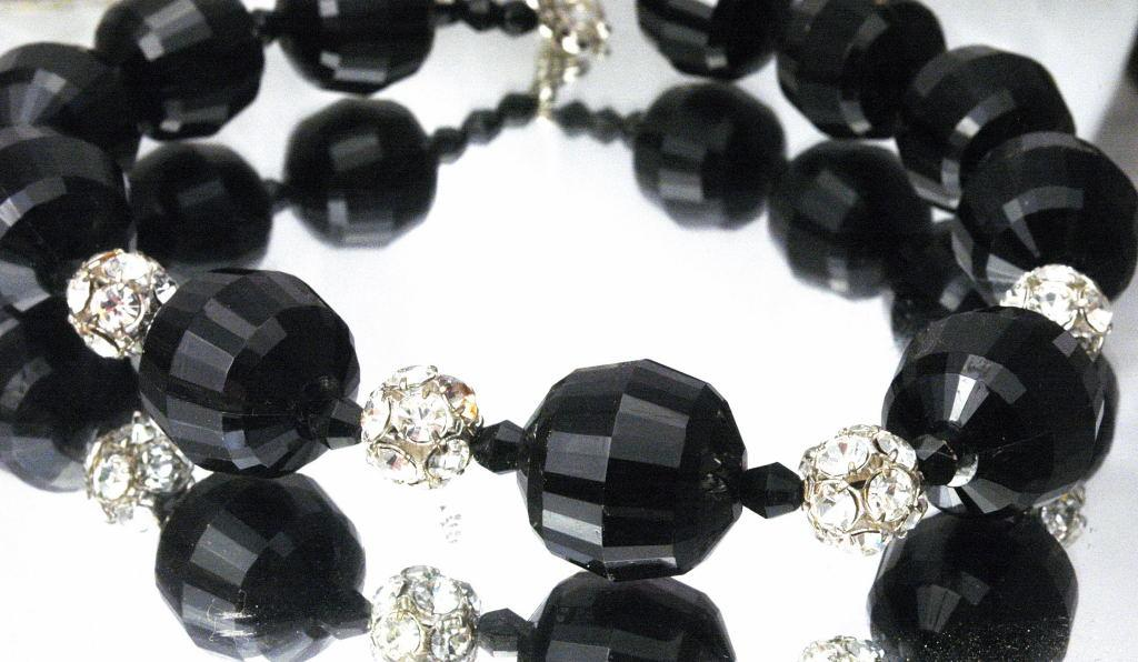Big Chunky Choker Necklace of Huge Black Faceted Bead and Rhinestone Balls   *PRICE REDUCED!**