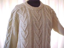 Irish Fisherman Clan HandKnit Sweater  Fancy Chevrons