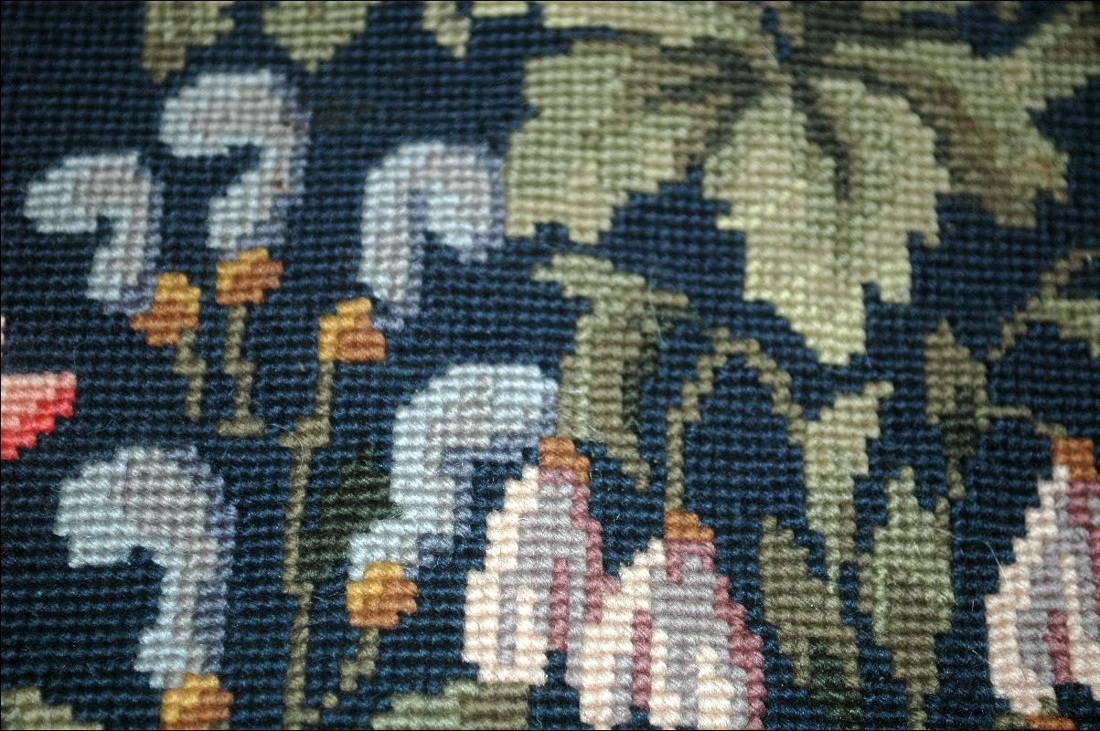 Fine Needlepoint Cushion Top Seat Cover  for Footstool or Chair or Pillow - Antiuqe Floral  Folk Art
