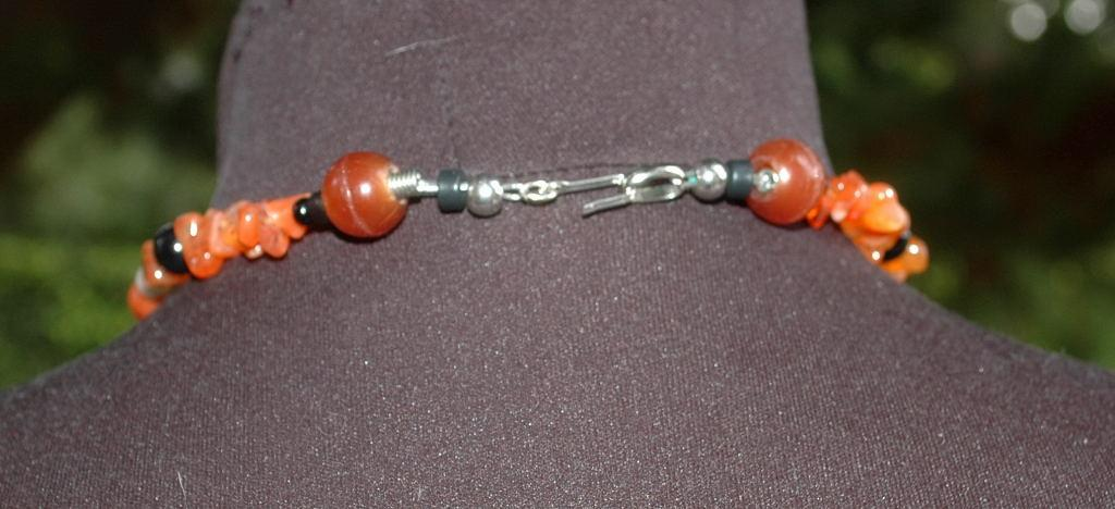 Carnelian Carved Maple Leaf &  Old Trade Beads Necklace   One of kind , hand crafted, original design