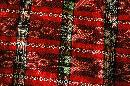 Hand Woven Fabric from Verapaces Guatemala  Ikat  Red , Black, White with Metallic Threads  Per Yard