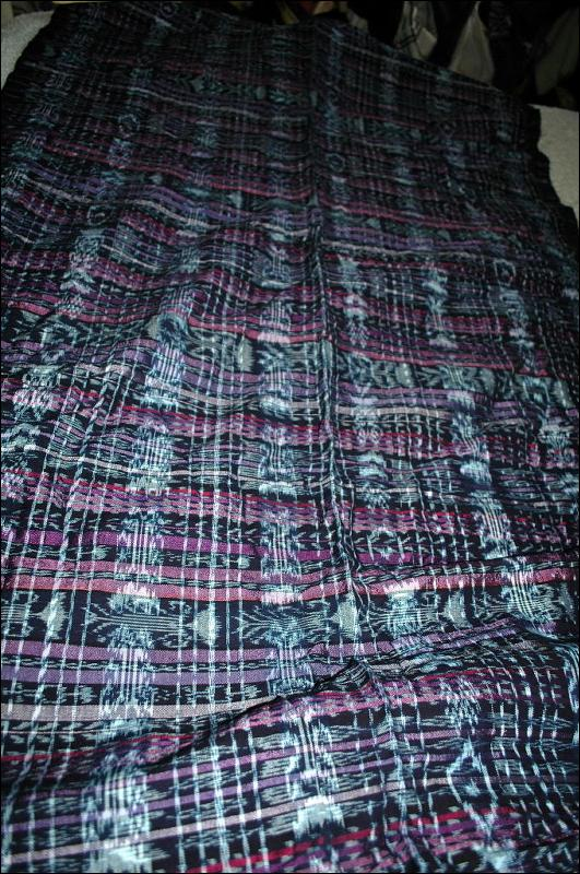 Ikat Frabric Purple Black and White Hand Woven in Guatemala Alta Verapaz Region  Purple and black  Per Yard