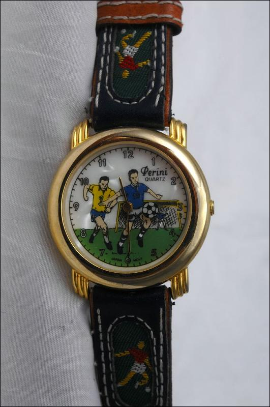 Soccer Team Wrist Watch with Rotating Soccer Ball