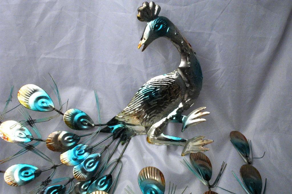 Hammered , Painted  Tin Peacocks Wall Art , Retro Vintage