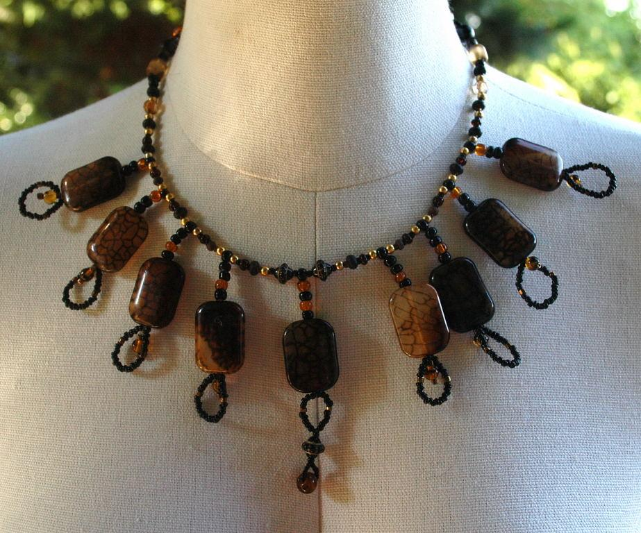 Hand Crafted One of Kind Fire  Agate Stones and Beads Necklace   Exotic Tribal Bib Design