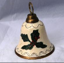Painted Brass Bell ,    Holly leaves and berries