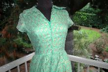 Vintage  Jadeite Green and Gold Dress