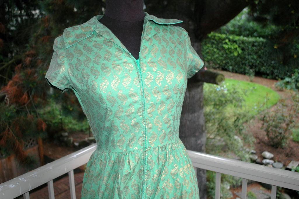 Vintage  Jadeite Green and Gold Dress