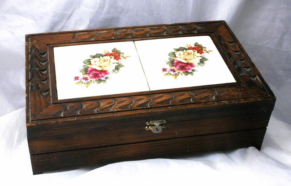 Carved Wood and Rose Tile  Storage  Box, Mexican Folk Art