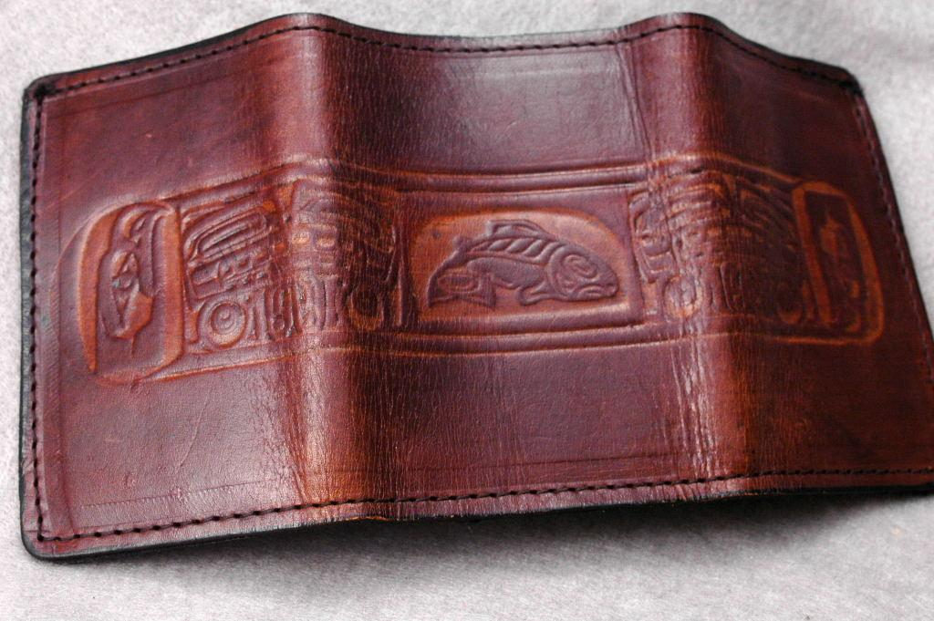 N.W.  Native American  Leather  Tri Fold Wallet