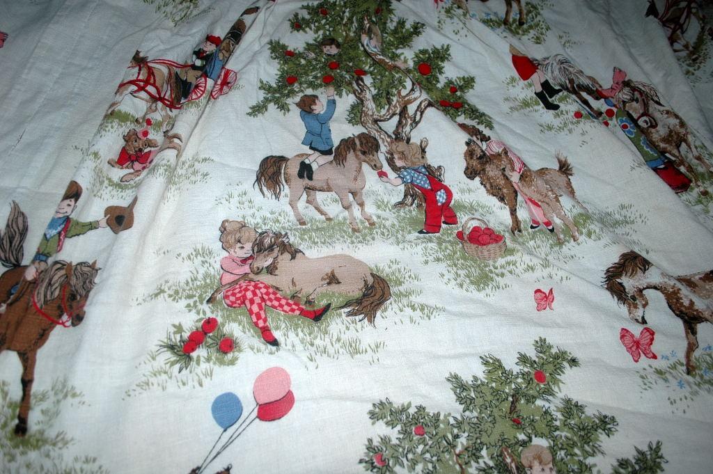 Barkcloth Drapery Fabric Panel,  Children, Nursery Theme Ponies Apple Trees, Boys and Girls