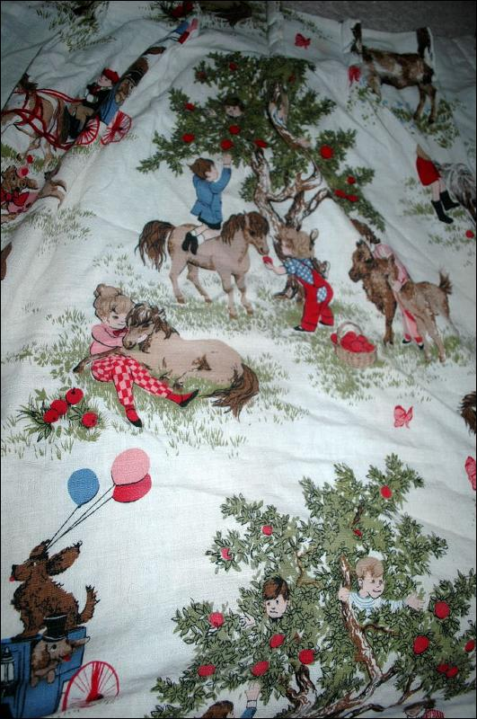 Barkcloth Drapery Fabric Panel,  Children, Nursery Theme Ponies Apple Trees, Boys and Girls