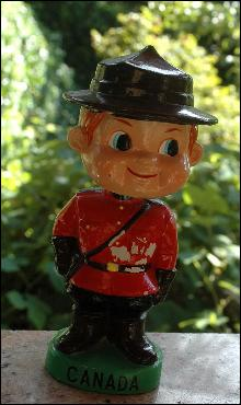 Nodder Bobble Head Canadian Mountie of Papier Mache , Canada