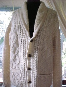 Authentic Wool Irish Fisherman's Knit Cardigan Sweater