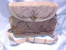 Tooled Leather Purse Roses & Vines Carved in Blond Leather, Western Style
