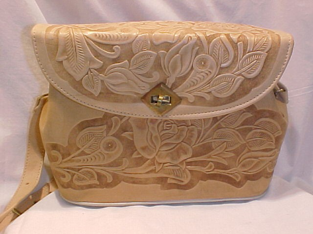 Vintage Blonde Tooled Leather Purse Roses