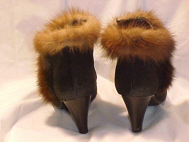 Vintage High Fashion High Heal Ankle Boots Suede with Mink Trim